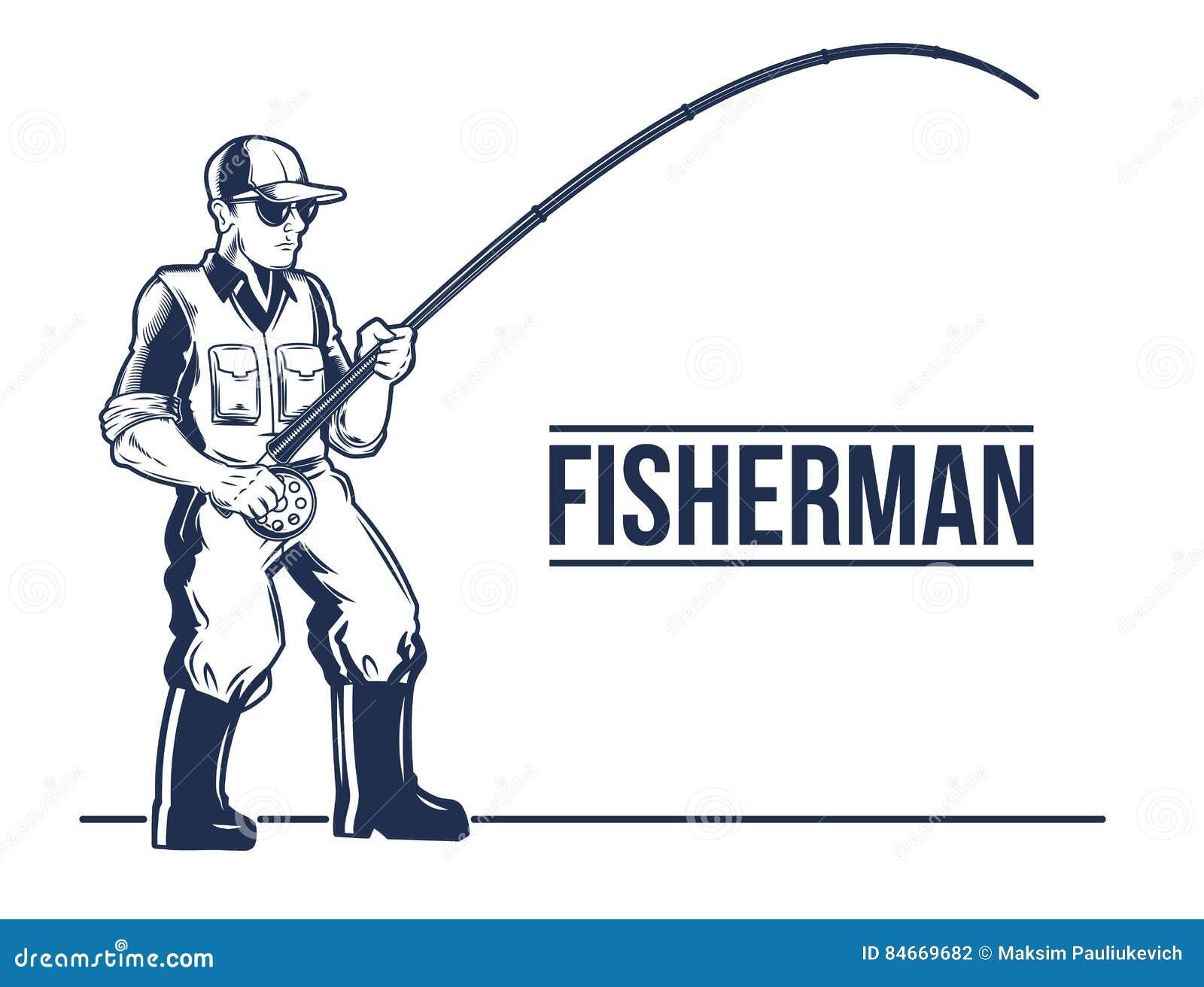 Pêche de l emblème de label avec la tige et le pêcheur