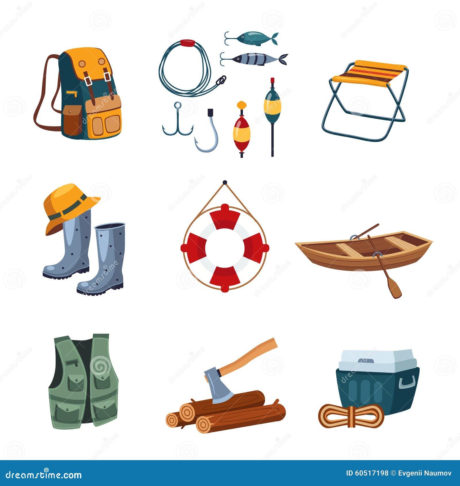 Pêche et équipement de camping dans la conception plate