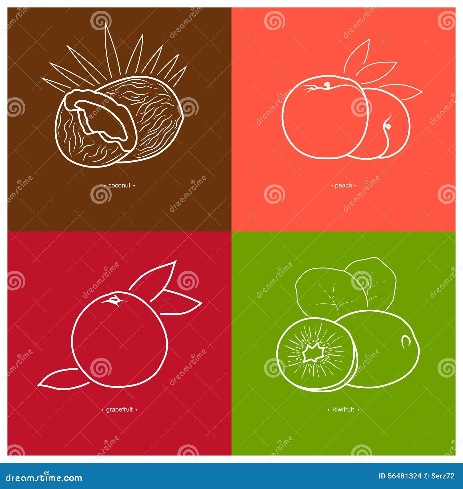 Pêche, kiwi, noix de coco, pamplemousse