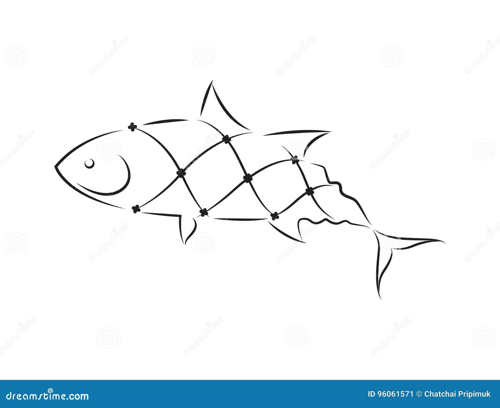 Pêche nette graphique, vecteur
