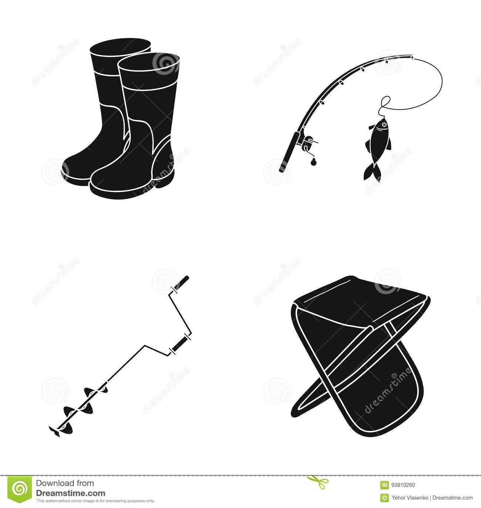 Pêche, poisson, crochet, canne à pêche En pêchant les icônes réglées de collection dans le style noir dirigez le Web courant d il