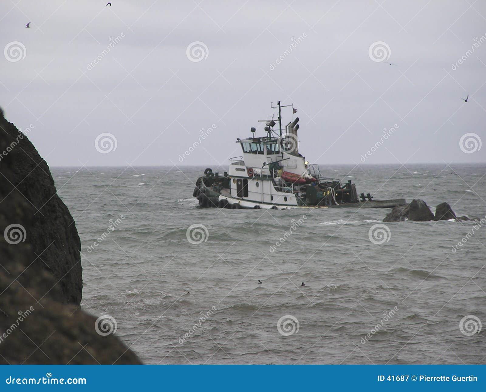Pêche sur la mer agitée