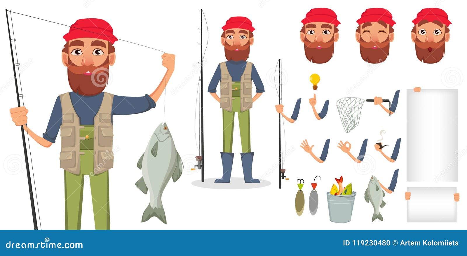 Pêcheur beau, personnage de dessin animé gai
