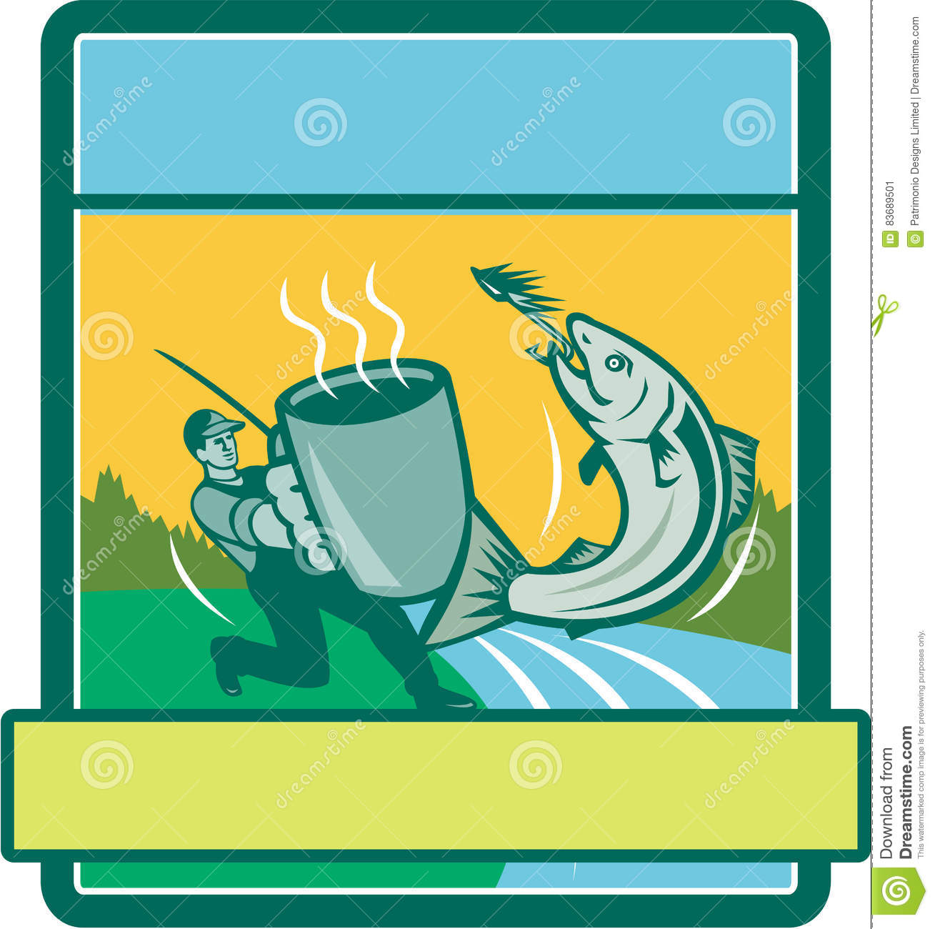 Rectangle Catching Pêcheur Mouche Mug Salmon Retro Illustration De zGSUVpqM