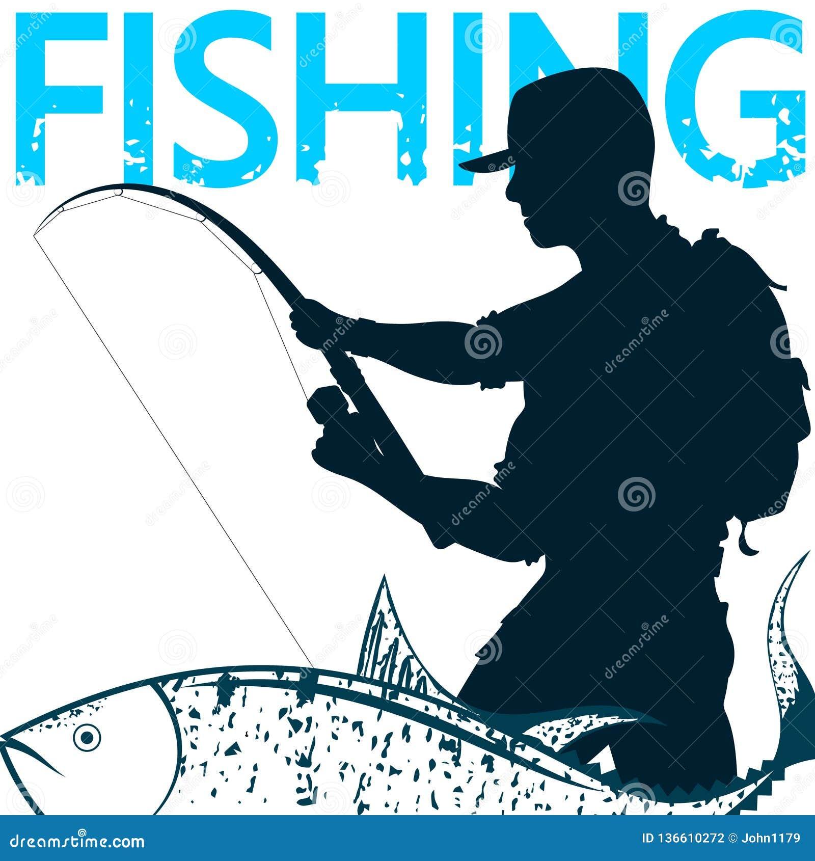 Pêcheur et poissons sur le crochet