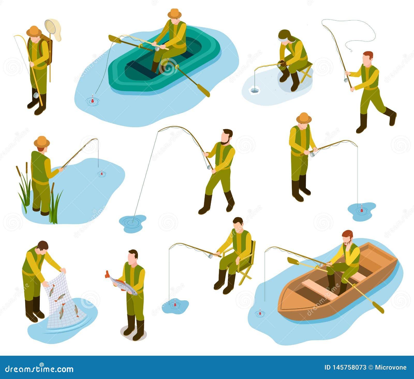 Pêcheur isométrique Pêche dans l ensemble isométrique de vecteur de la canne à pêche 3d de poissons d attirail de mer d étang de