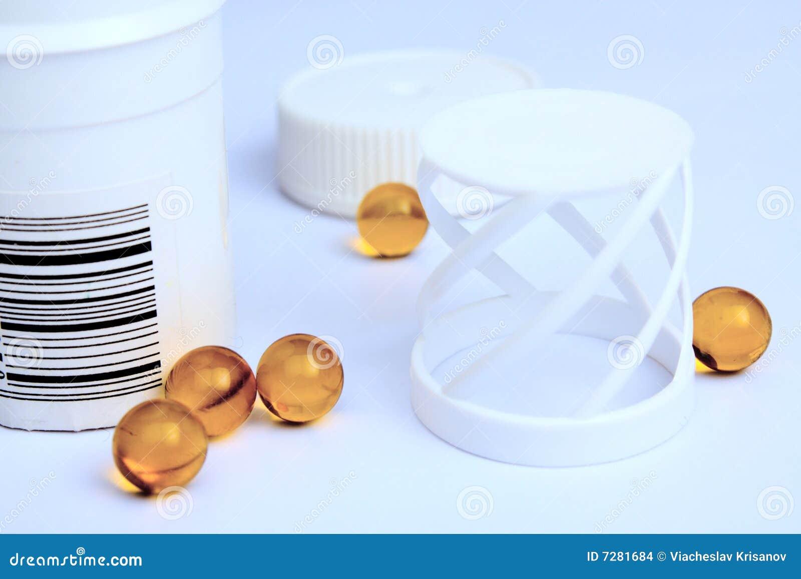 Píldoras amarillas transparentes