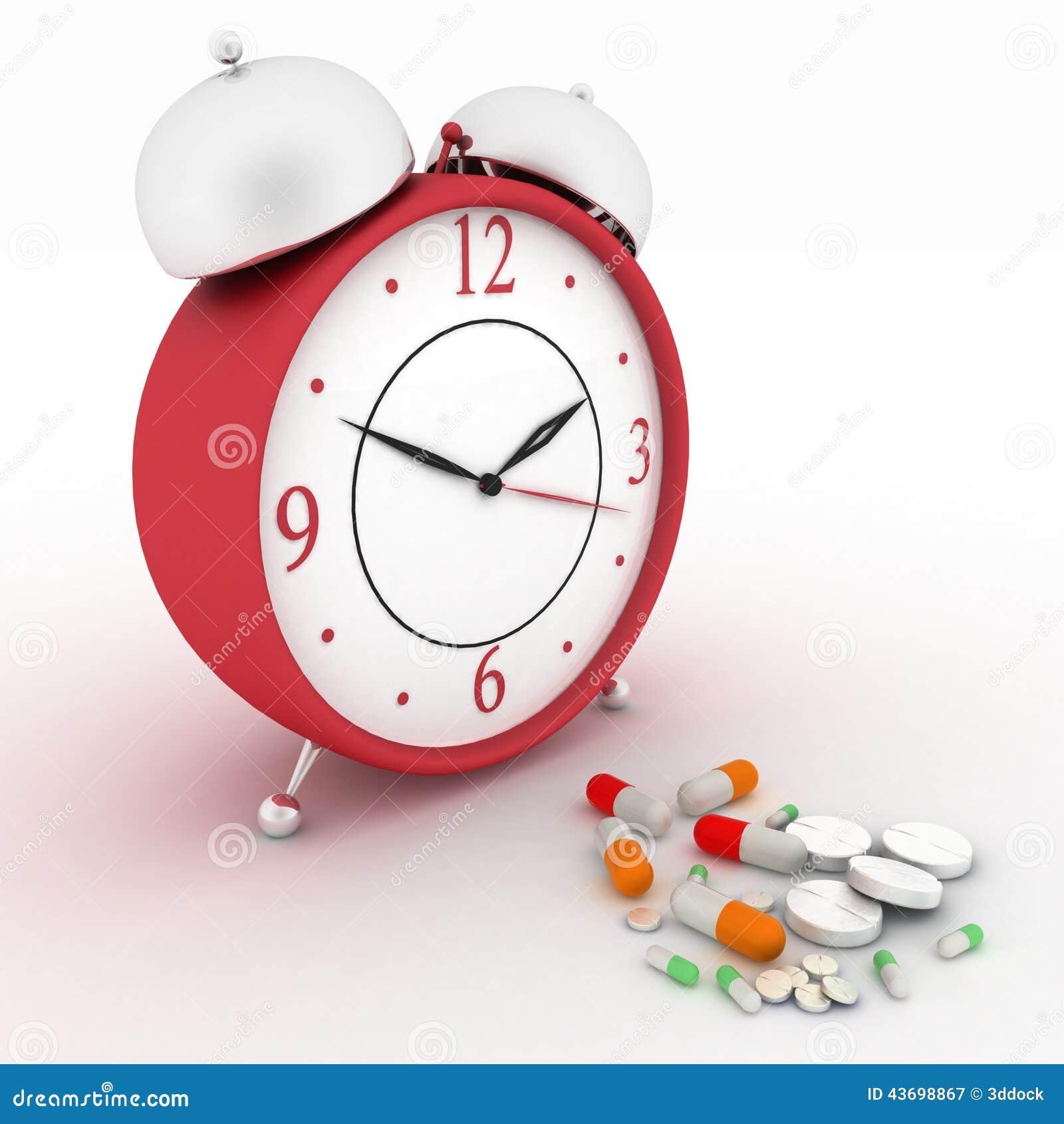 Píldoras de la medicina y despertador retro rojo