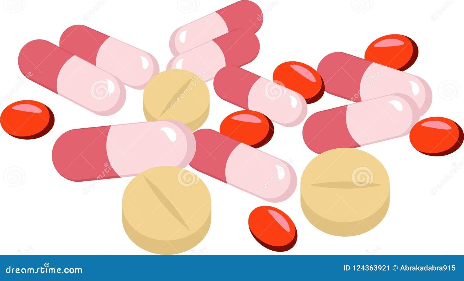 Píldoras, tabletas y cápsulas farmacéuticas clasificadas de la medicina sobre el fondo blanco