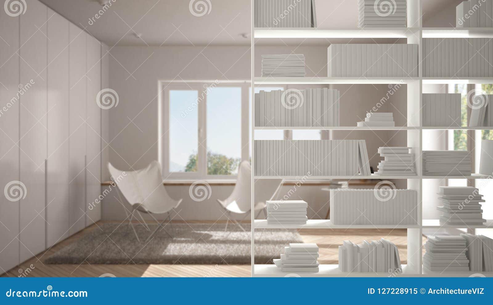 Półka na książki zakończenie, odkłada przedpole, wewnętrznego projekta pojęcie, scandinavian żywy pokój