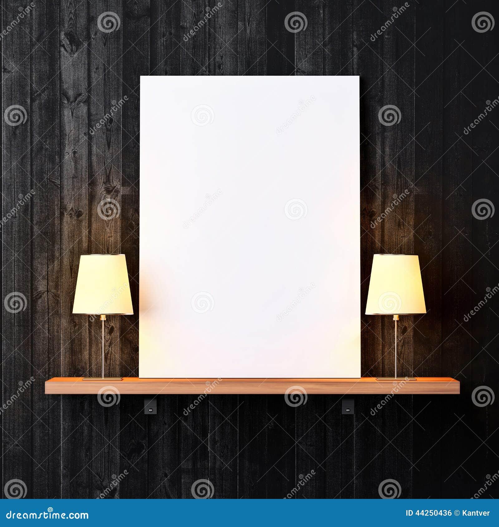 Półka z białymi lampami i plakatem