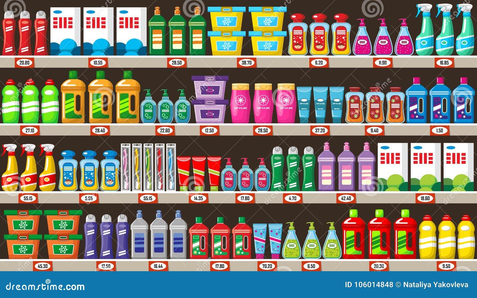 Półki z gospodarstwo domowe substancjami chemicznymi w sklepie
