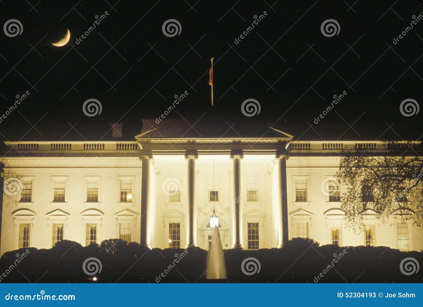 Półksiężyc księżyc nad Białym domem, Waszyngton, d C
