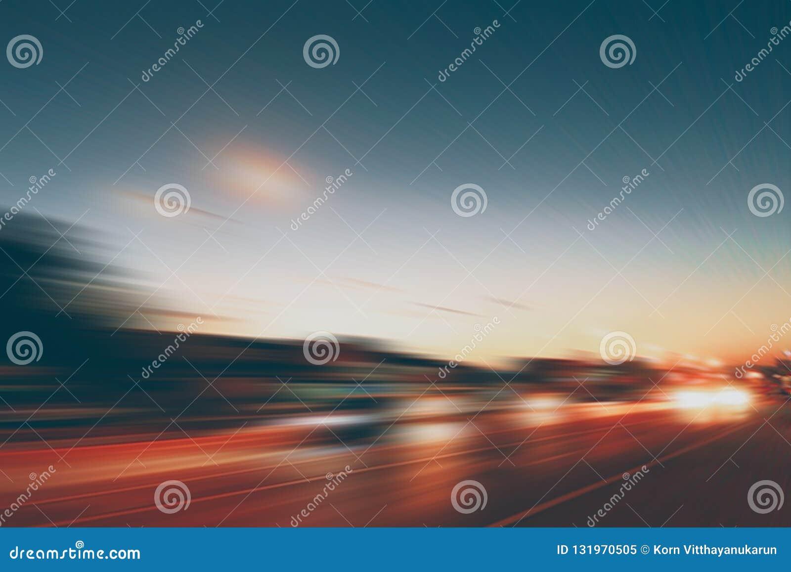 Półmrok drogowej plamy autostrady ruchu prędkości super skutek
