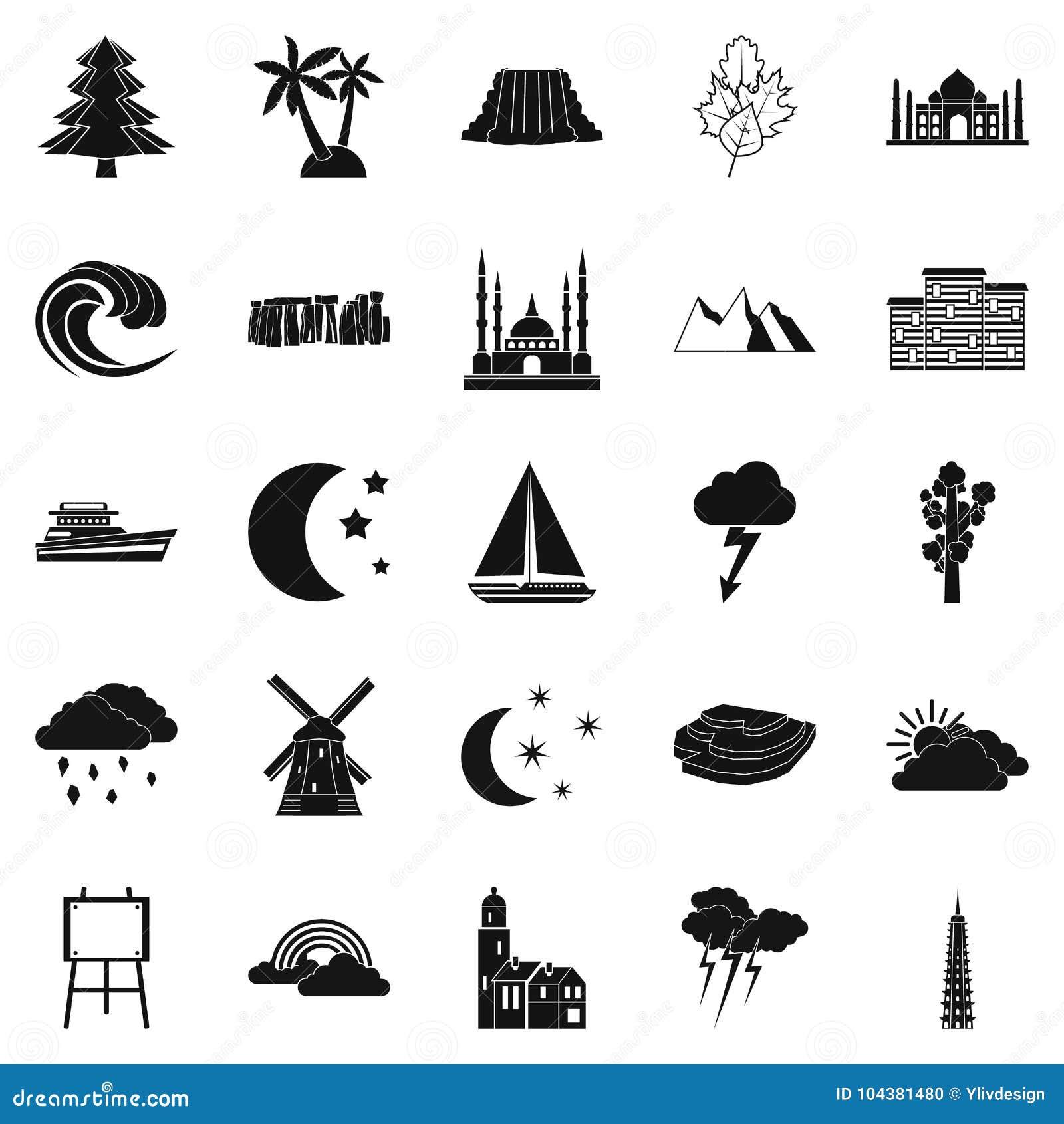 Półmrok ikony ustawiać, prosty styl