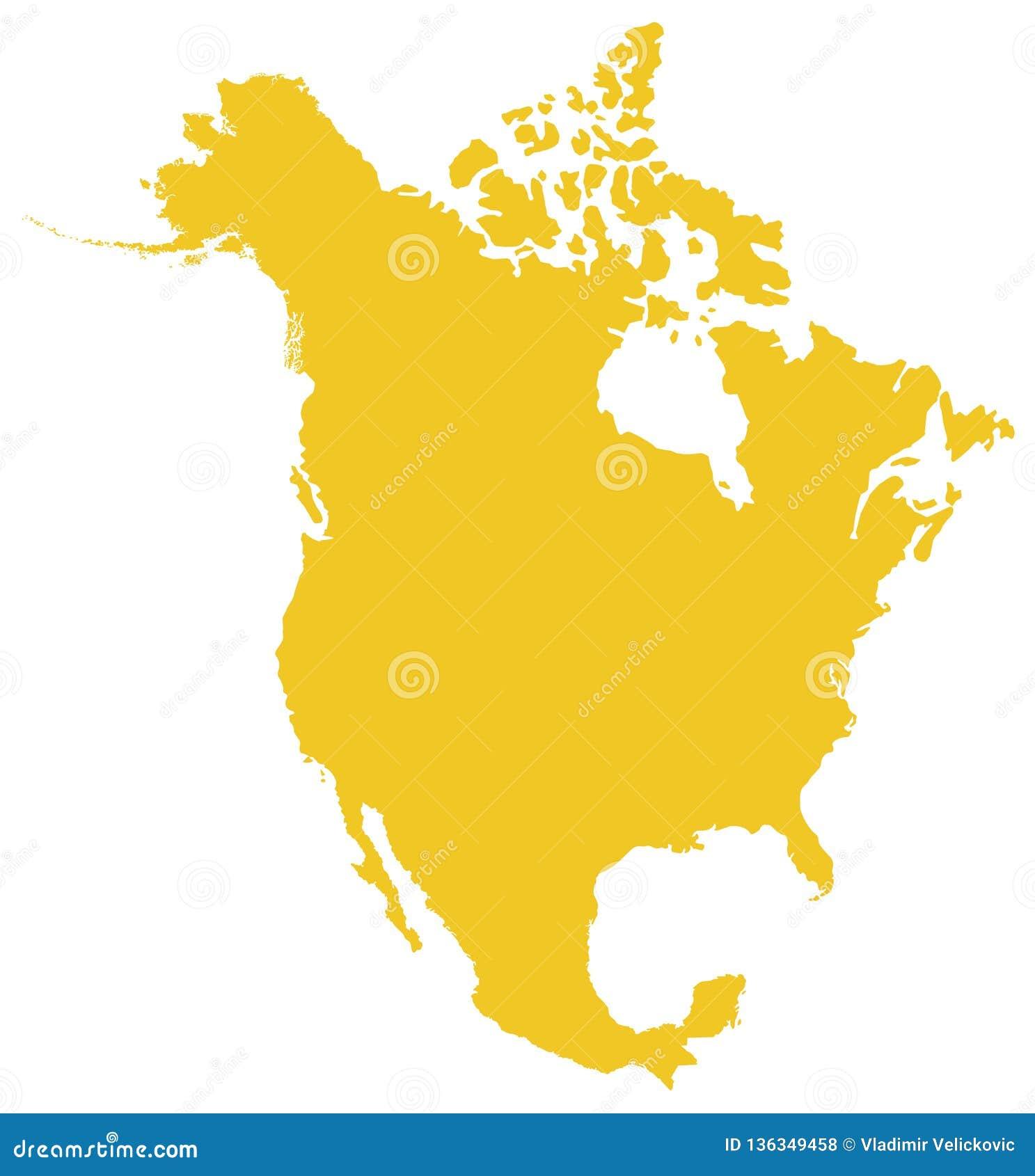 Północna Ameryka mapa - kontynent