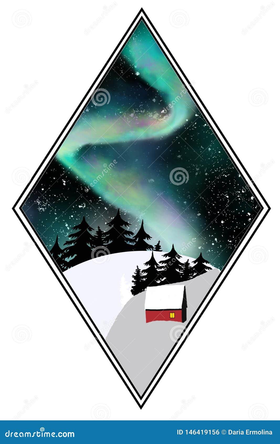 Północni światła w noc lesie
