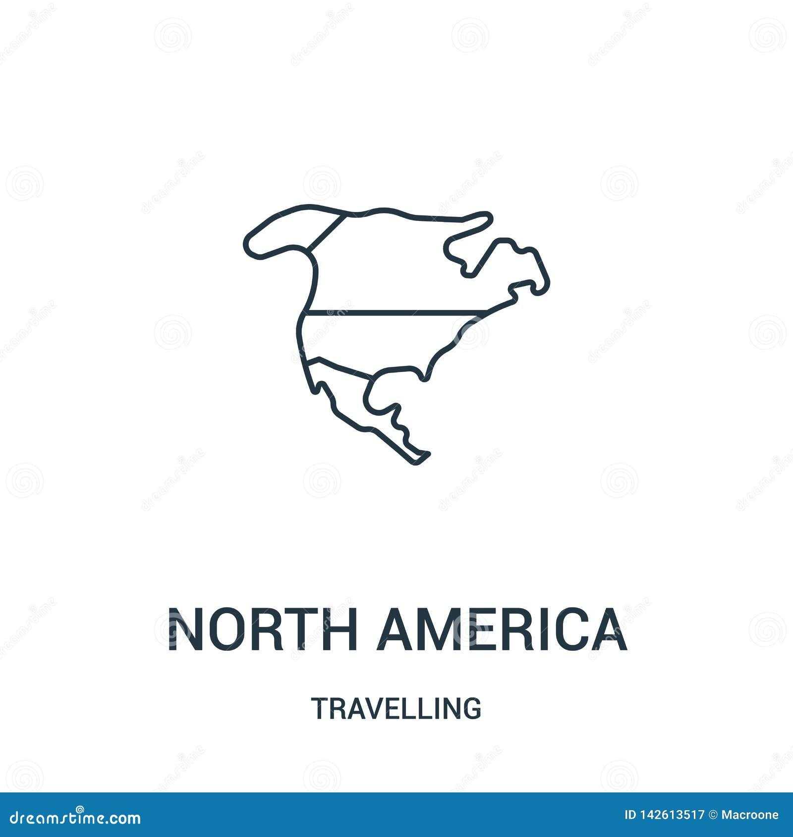 Północny America ikony wektor od podróżnej kolekcji Cienka kreskowa północna America konturu ikony wektoru ilustracja Liniowy sym