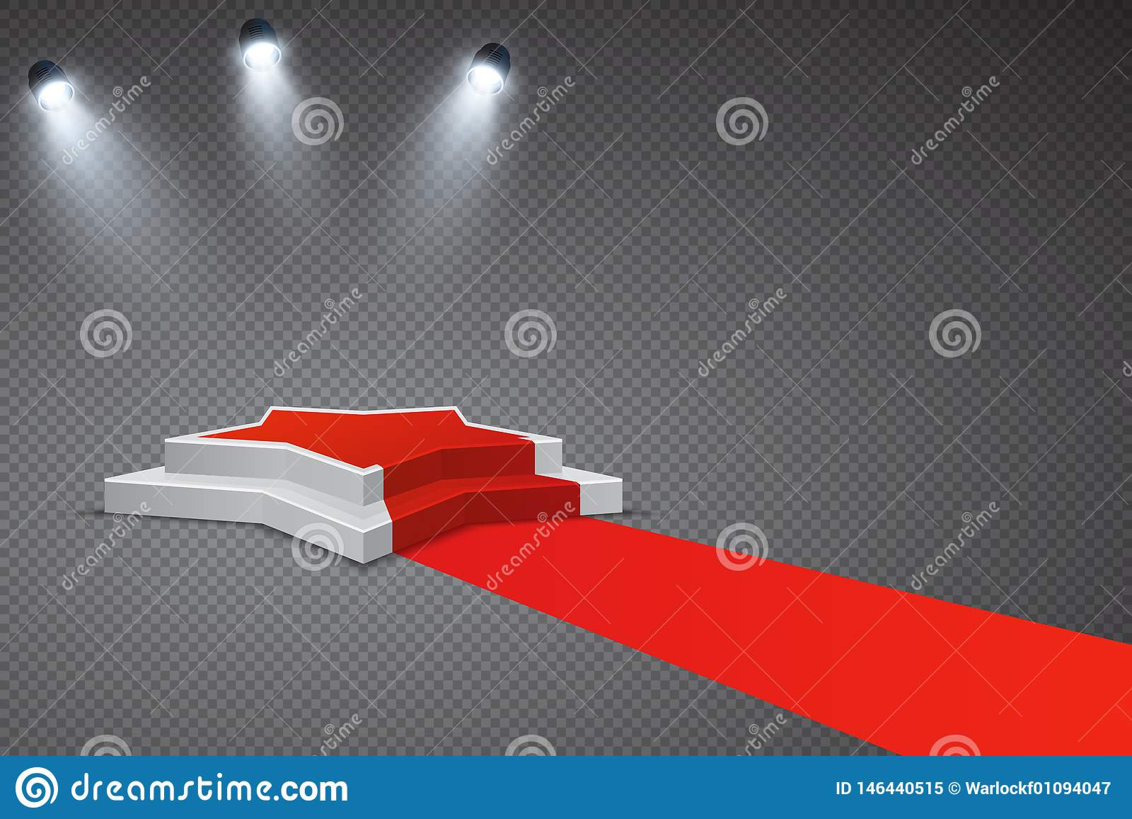 Pódio dado forma estrela com tapete vermelho e projetores