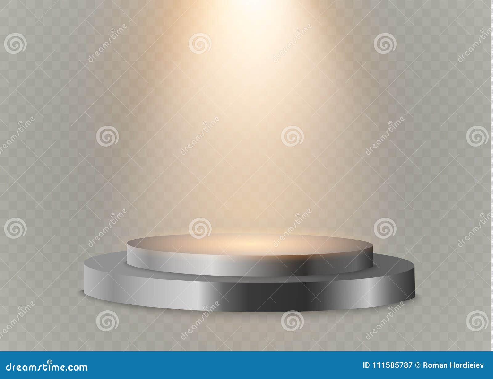 Pódio em um fundo transparente o pódio dos vencedores com luzes brilhantes Projector lighting Ilustração do vetor