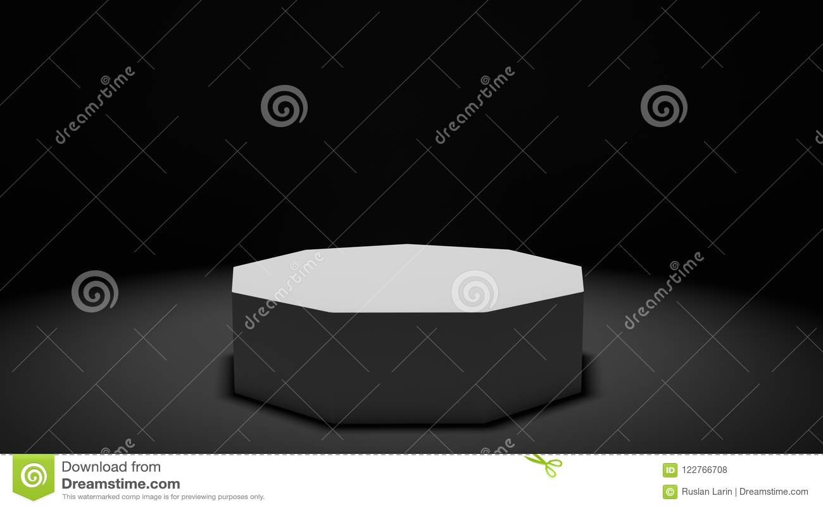 Pódio minimalista rendido moderno da apresentação em um estúdio escuro