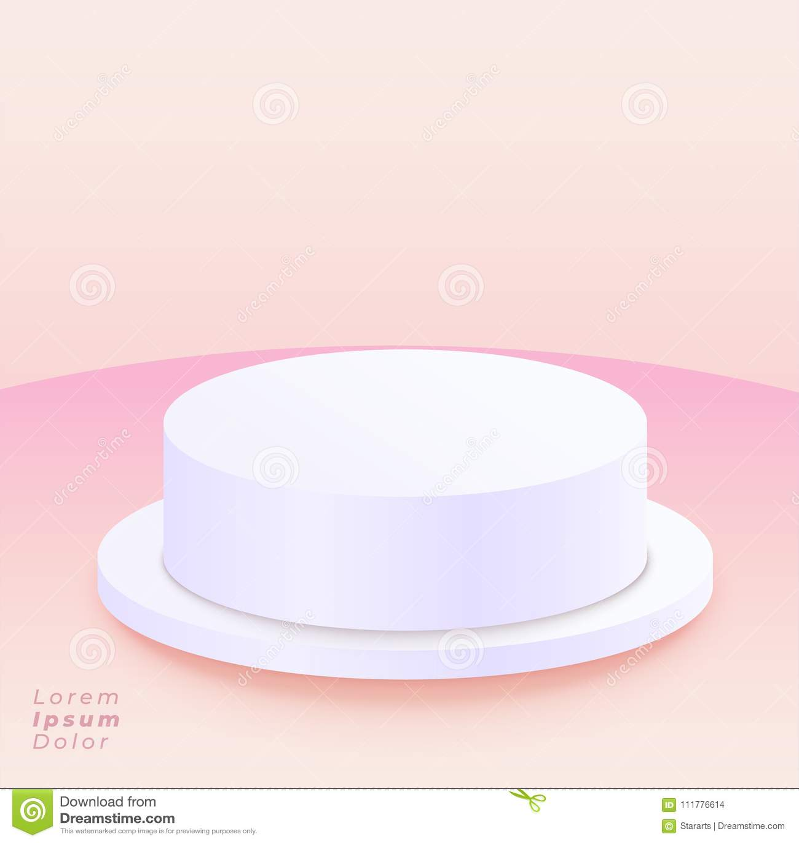 Pódio redondo no fundo cor-de-rosa macio