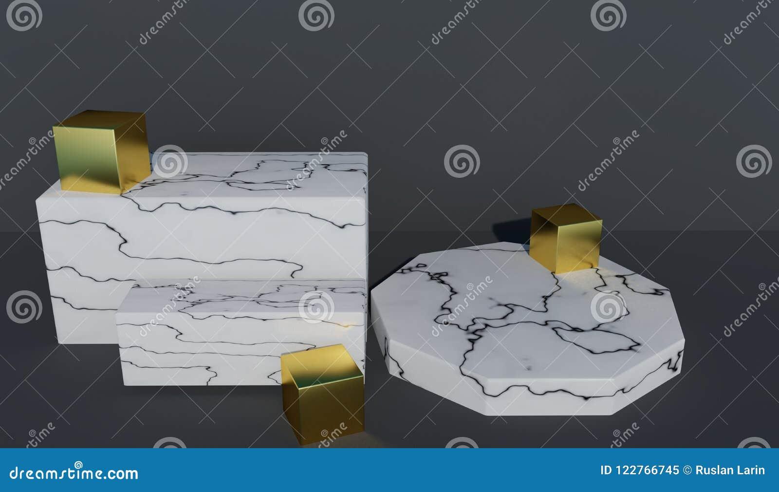 Pódio rendido 3D abstrato para as apresentações feitas do mármore branco e decoradas com cubos do ouro