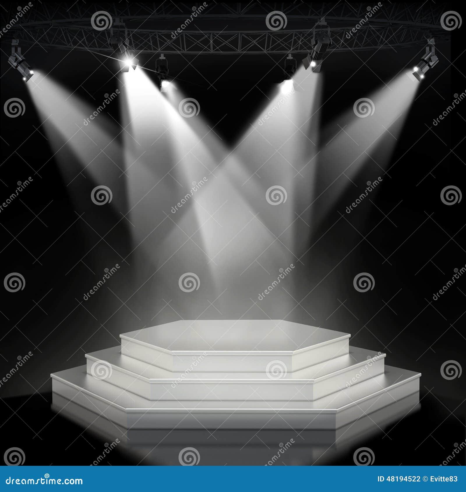 Pódio vazio iluminado da fase