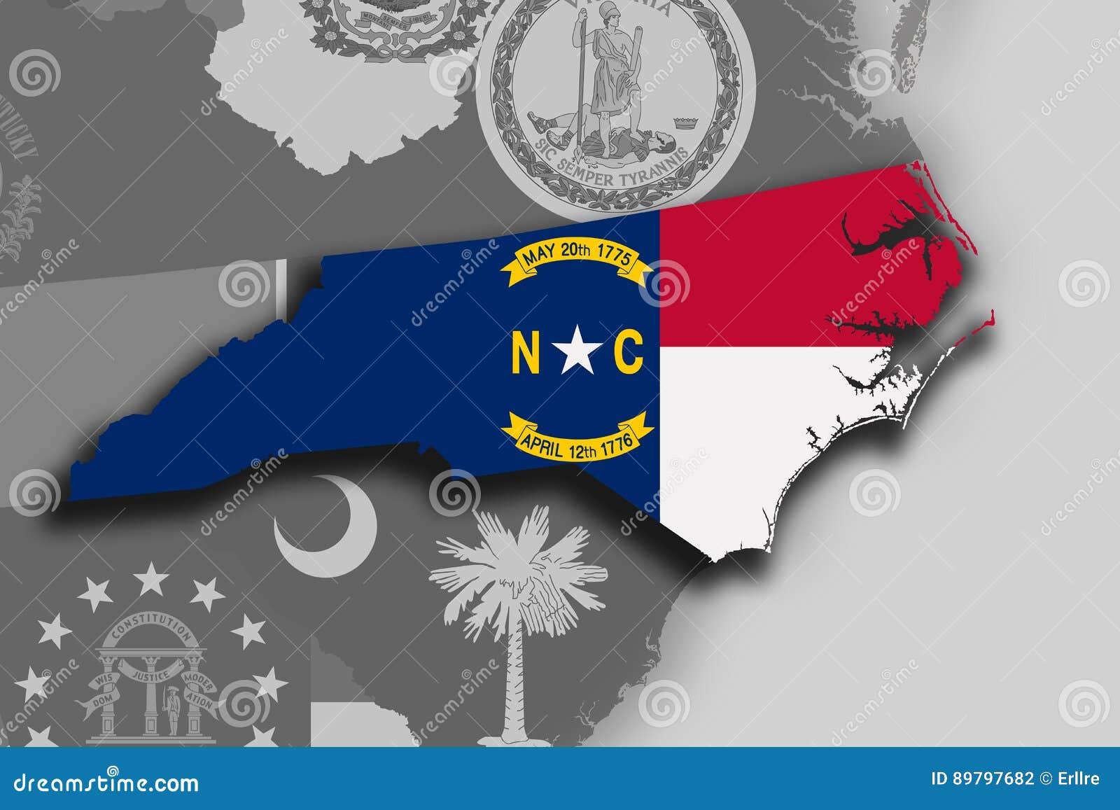 Pólnocna Karolina flaga i mapa