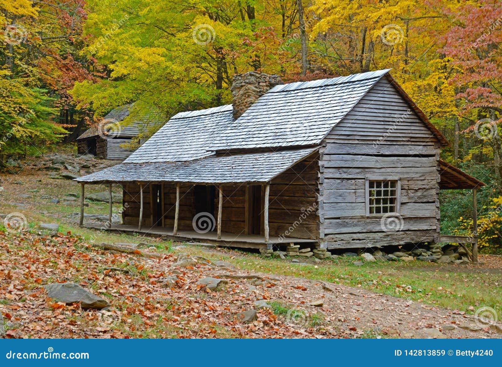 Pączek Oczkuje bela dom otaczającego z spadki barwiącymi liśćmi