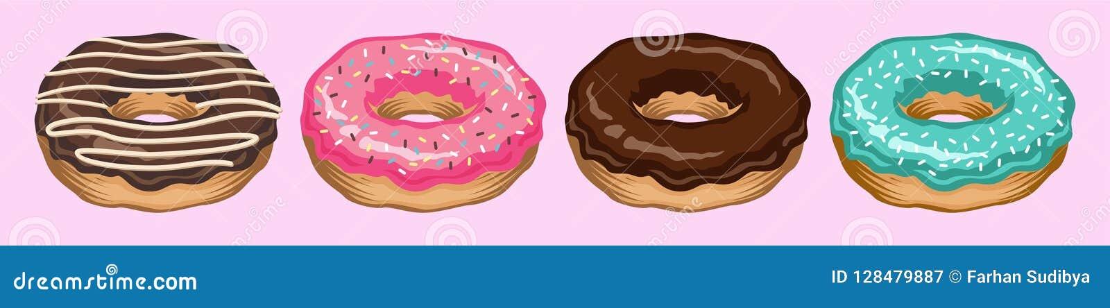 Pączka wektor ustawiający odizolowywającym na frontowym widoku Pączek kolekcja słodcy cukrowi lodowaceń donuts łama czas z białą