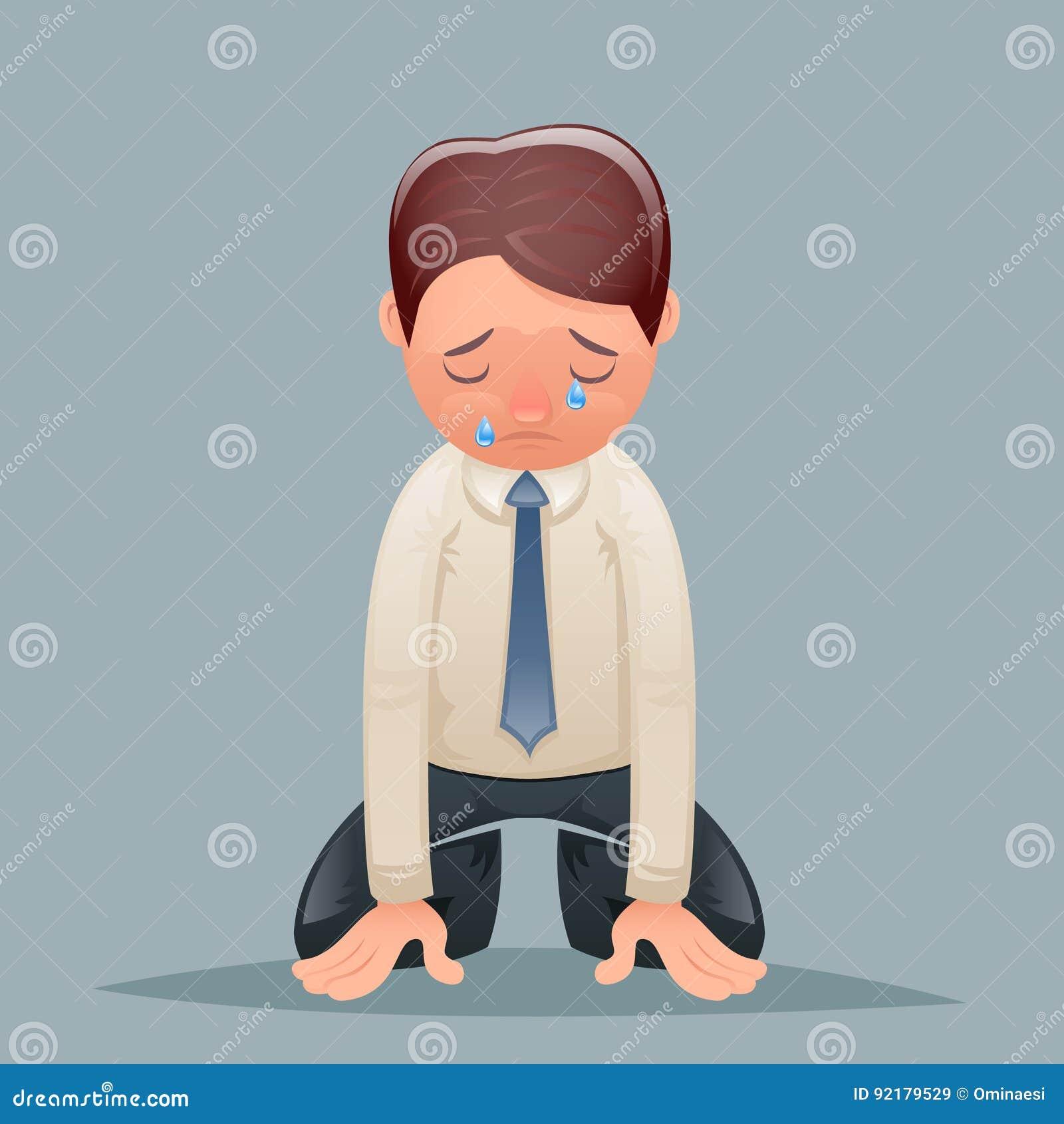 Płacz łez rocznika biznesmena rozpacz Cierpi żalu charakteru ikony kreskówki projekta wektoru Retro ilustrację