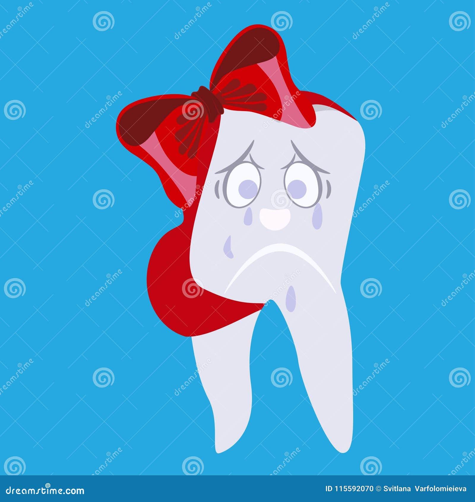 Płakać dzieciaka ząb z tasiemkowego bandaża wektorową płaską ilustracją