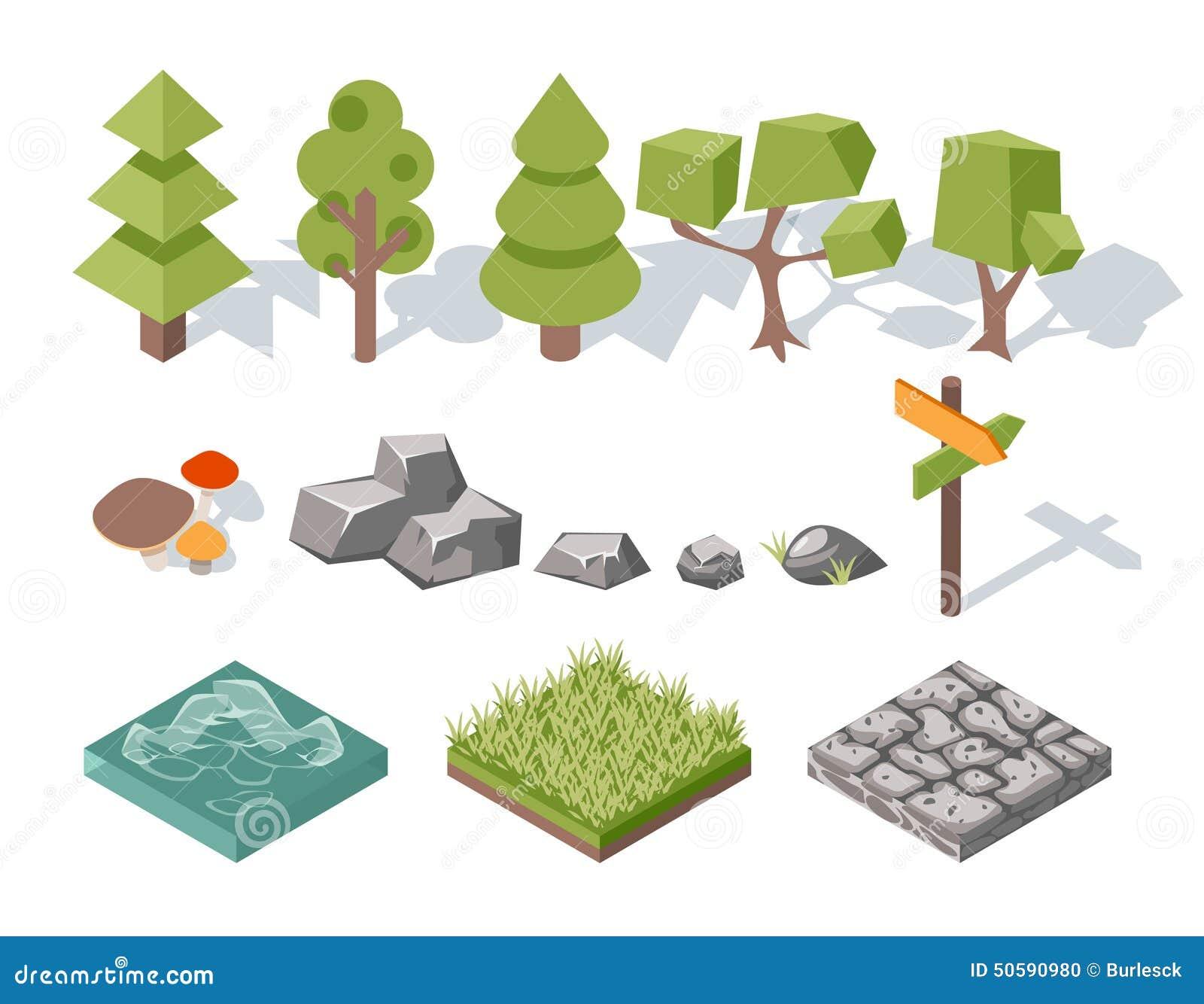 Płascy elementy natura Drzewa, krzaki, kołysają