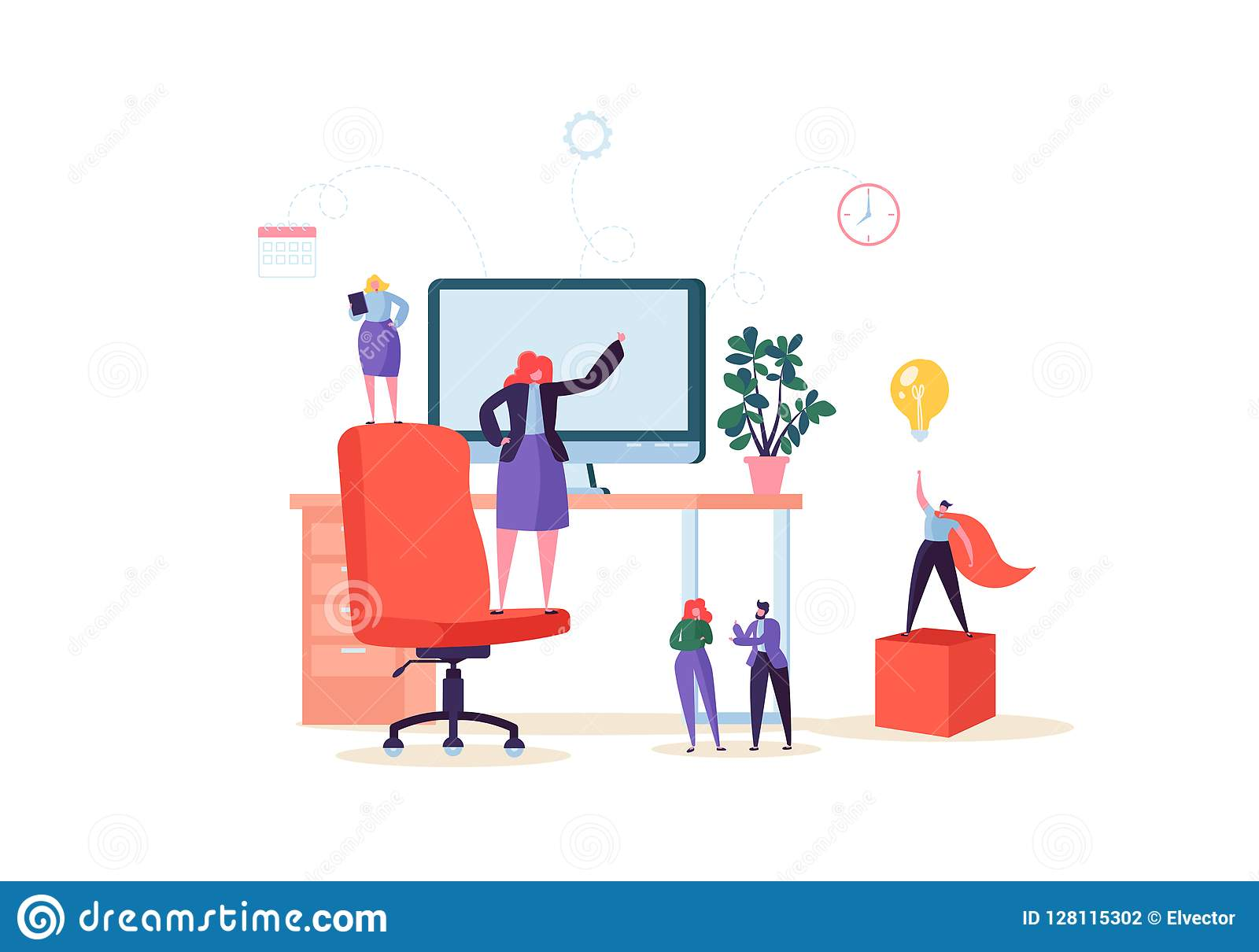 Płascy ludzie charakterów Pracuje w biurze z komputerem Nowożytny Workspace miejsce pracy z biurkiem i ludźmi biznesu