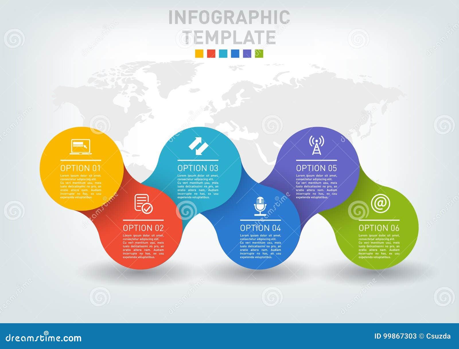 Płaska infographics linia czasu z pięć opcjami