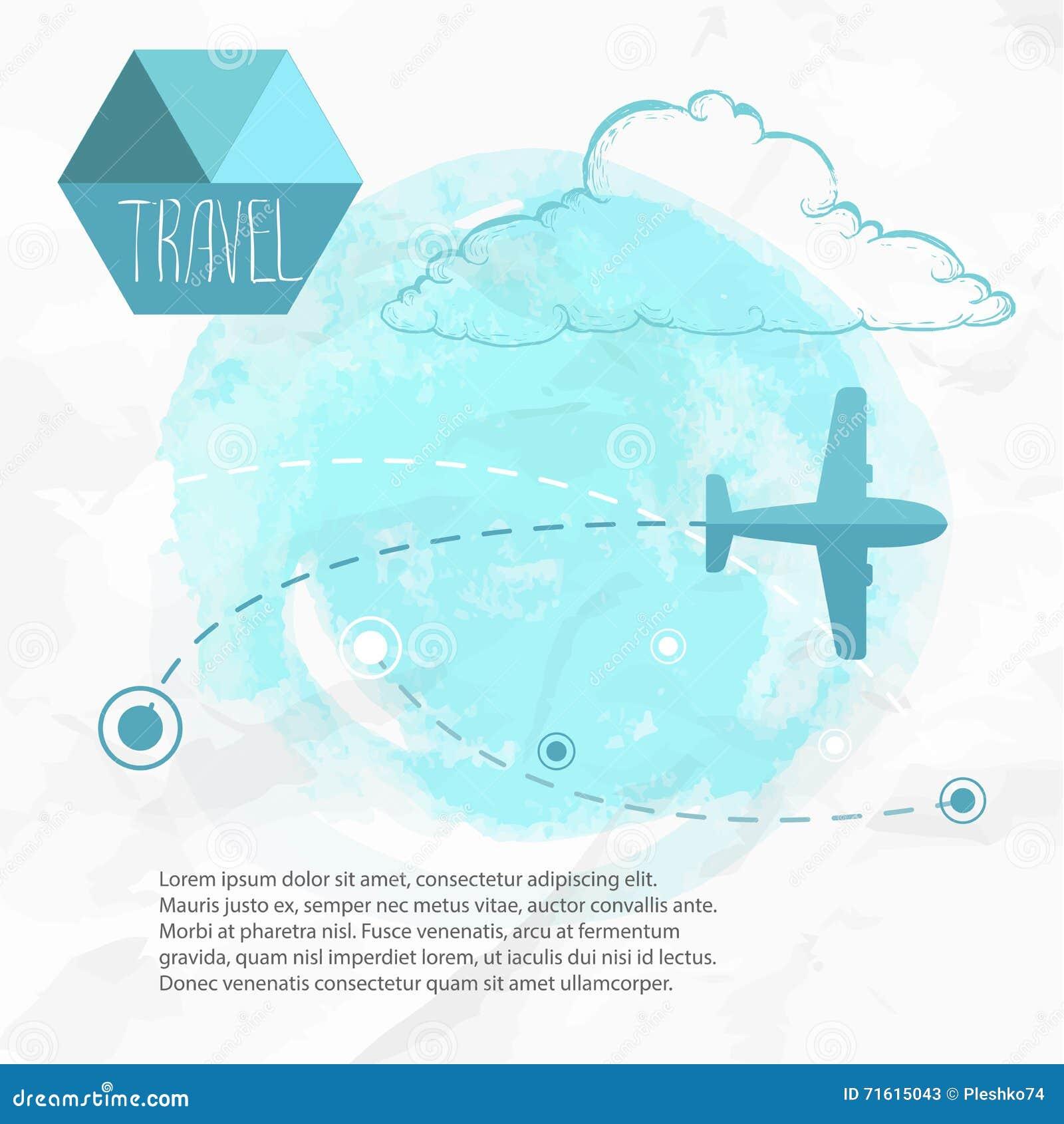 Płaska podróży Samolot na jego miejsce przeznaczenia trasach