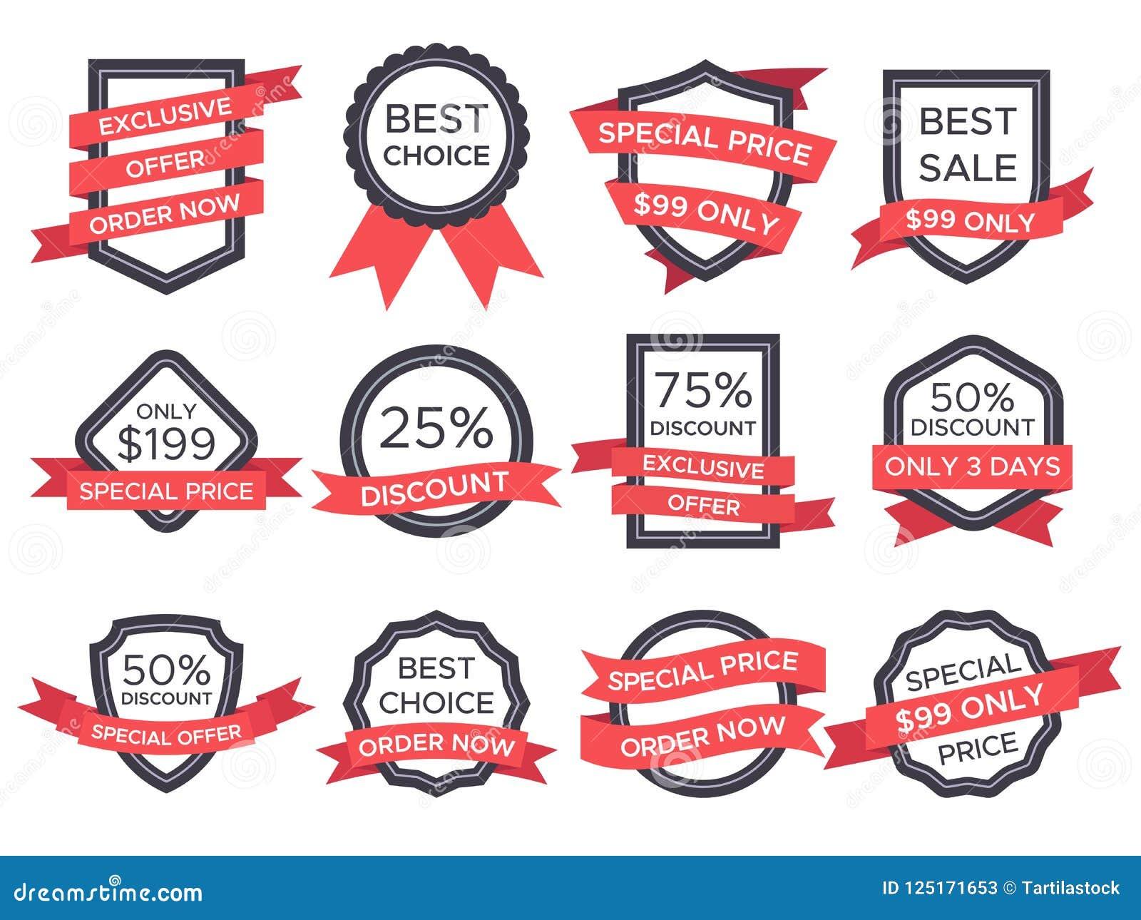 Płaska sprzedaży odznaka Retro emblemata tasiemkowi sztandary i stare wiktoriański etykietki Rocznik sprzedaży faborków i odznak