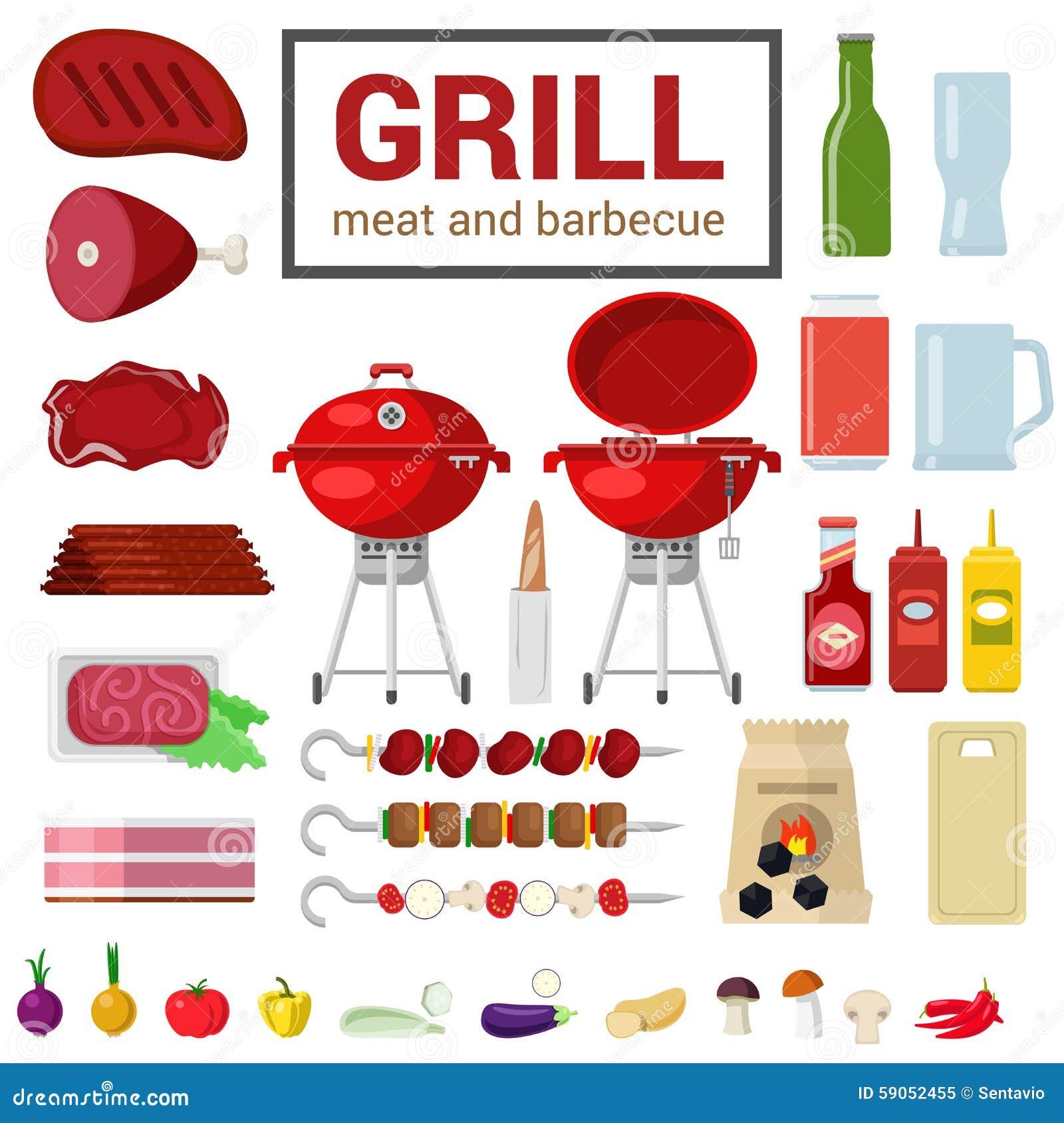 Płaska wektorowa ikona grilla grilla BBQ mięsny gotować plenerowy
