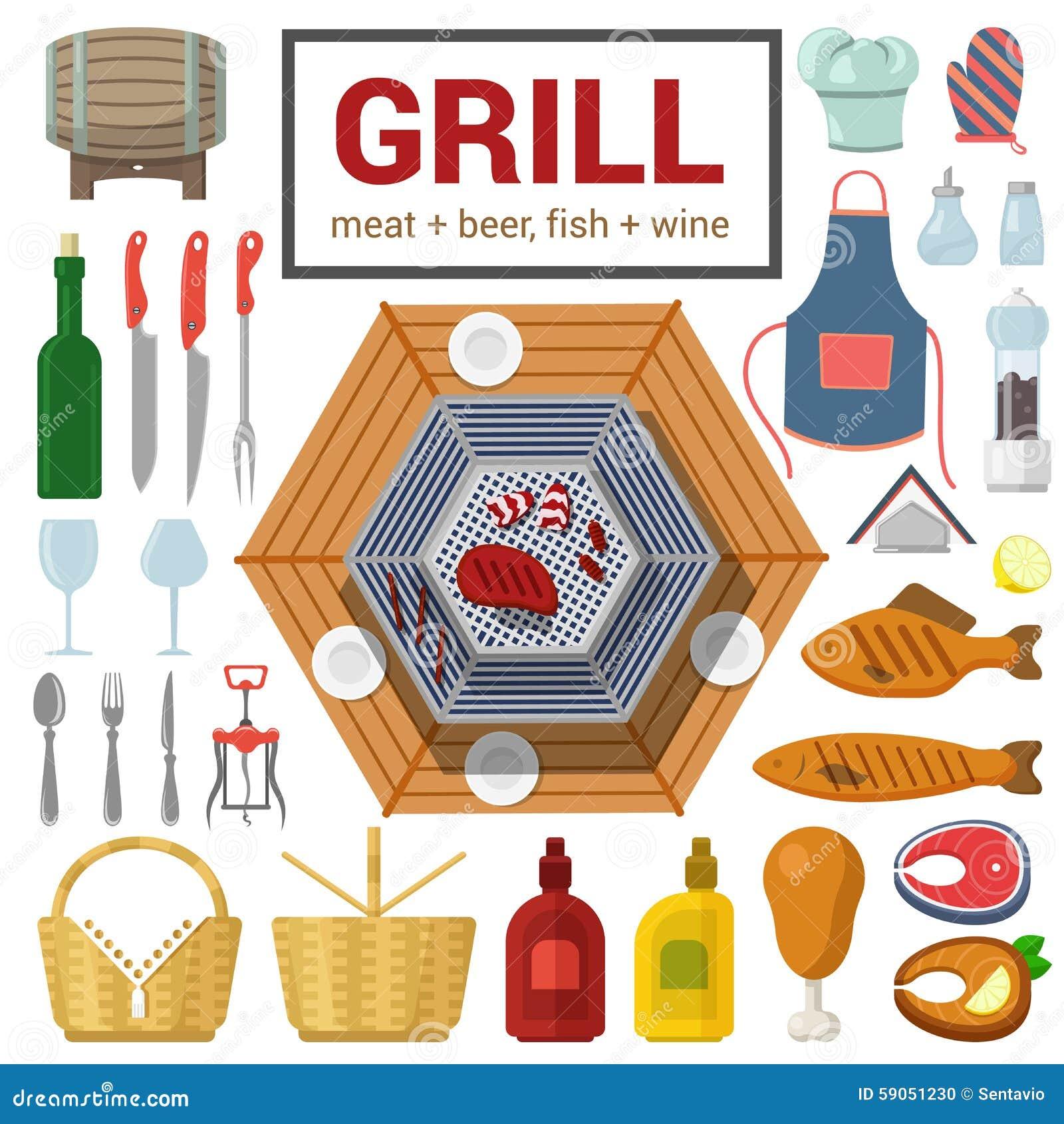 Płaska wektorowa ikona grilla mięsa ryba grilla BBQ gotować plenerowy