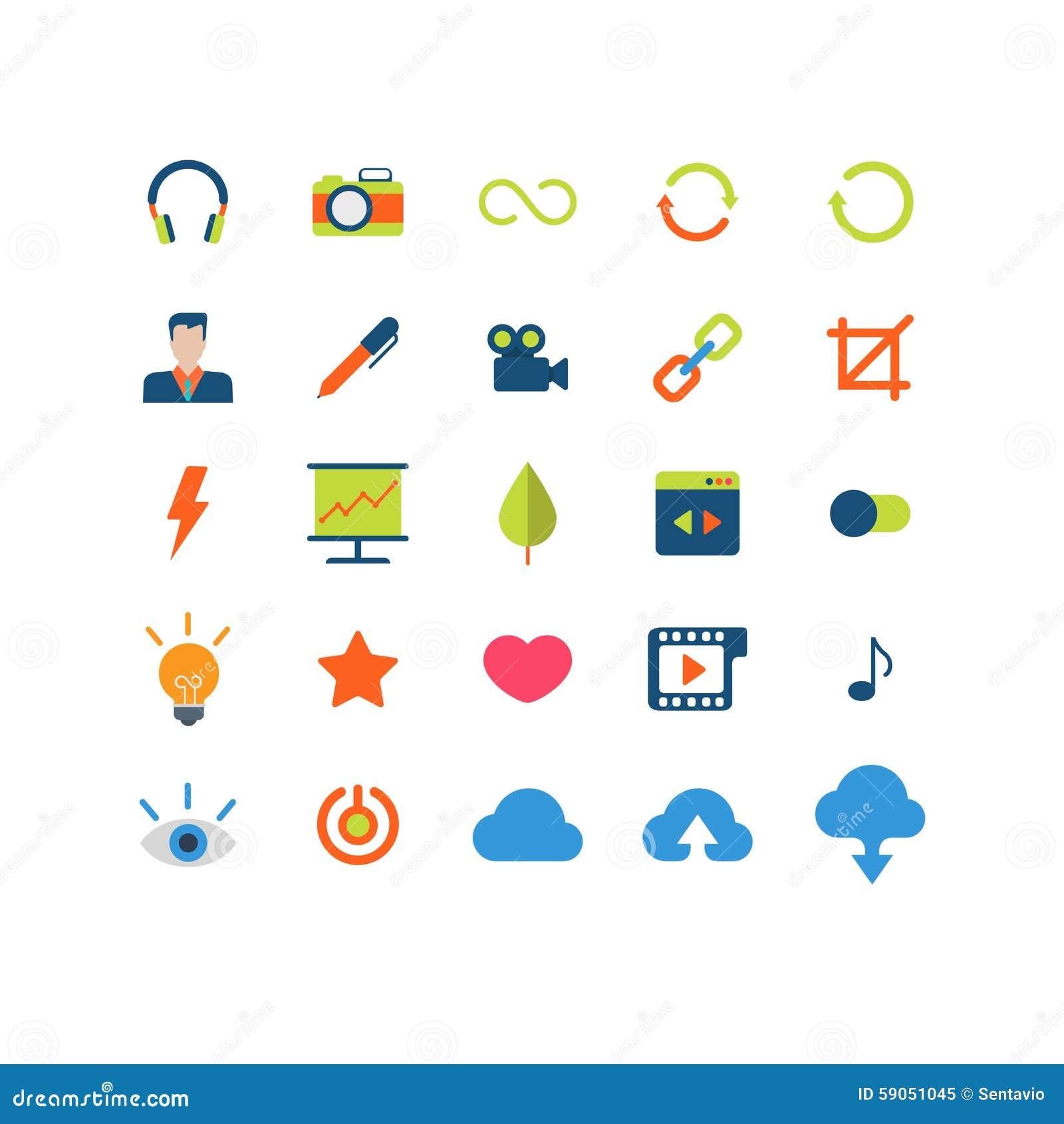 Płaska wektorowa mobilna sieci app interfejsu ikony paczka