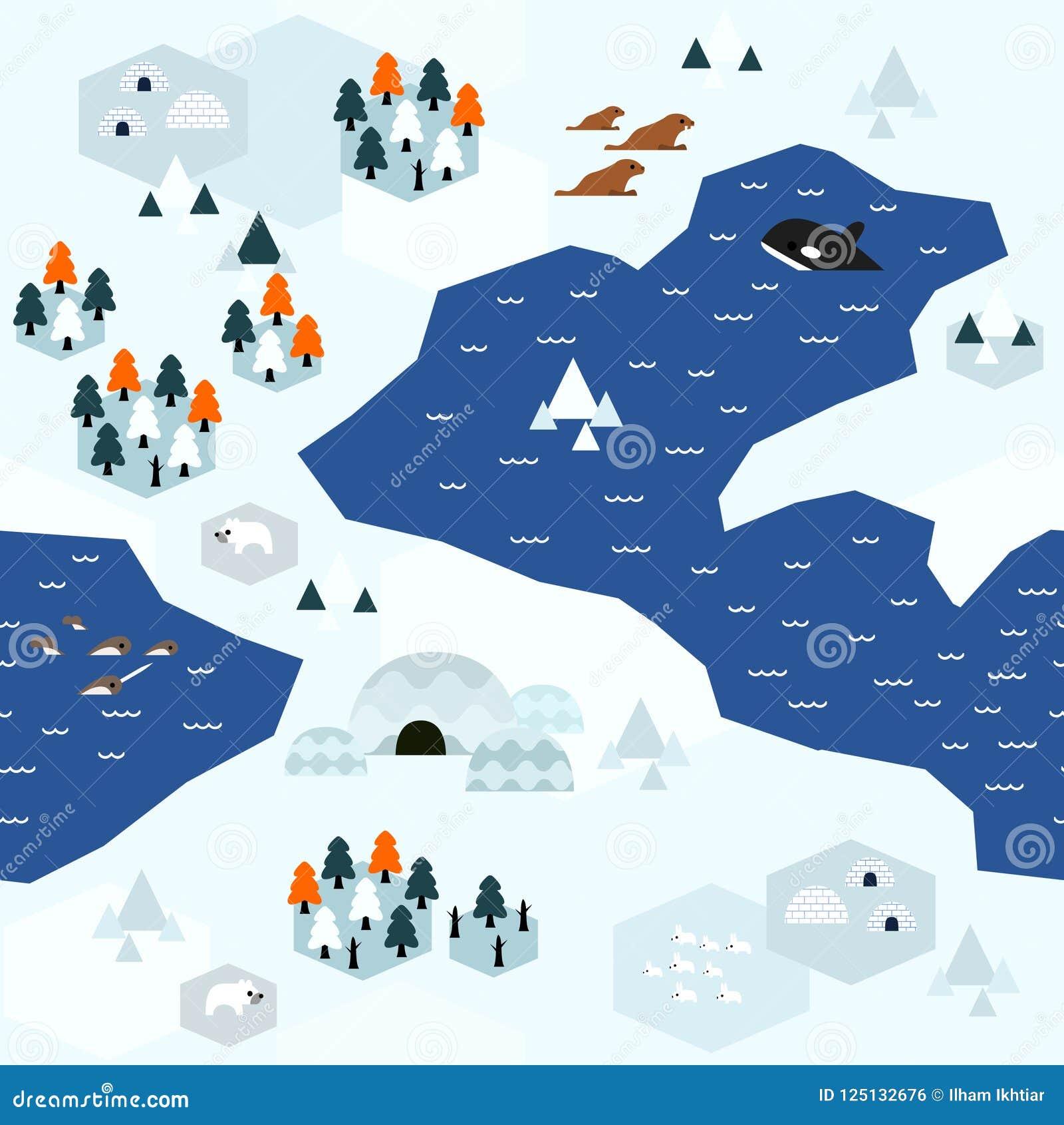 Płaski Arktyczny mapa wzoru wariant C