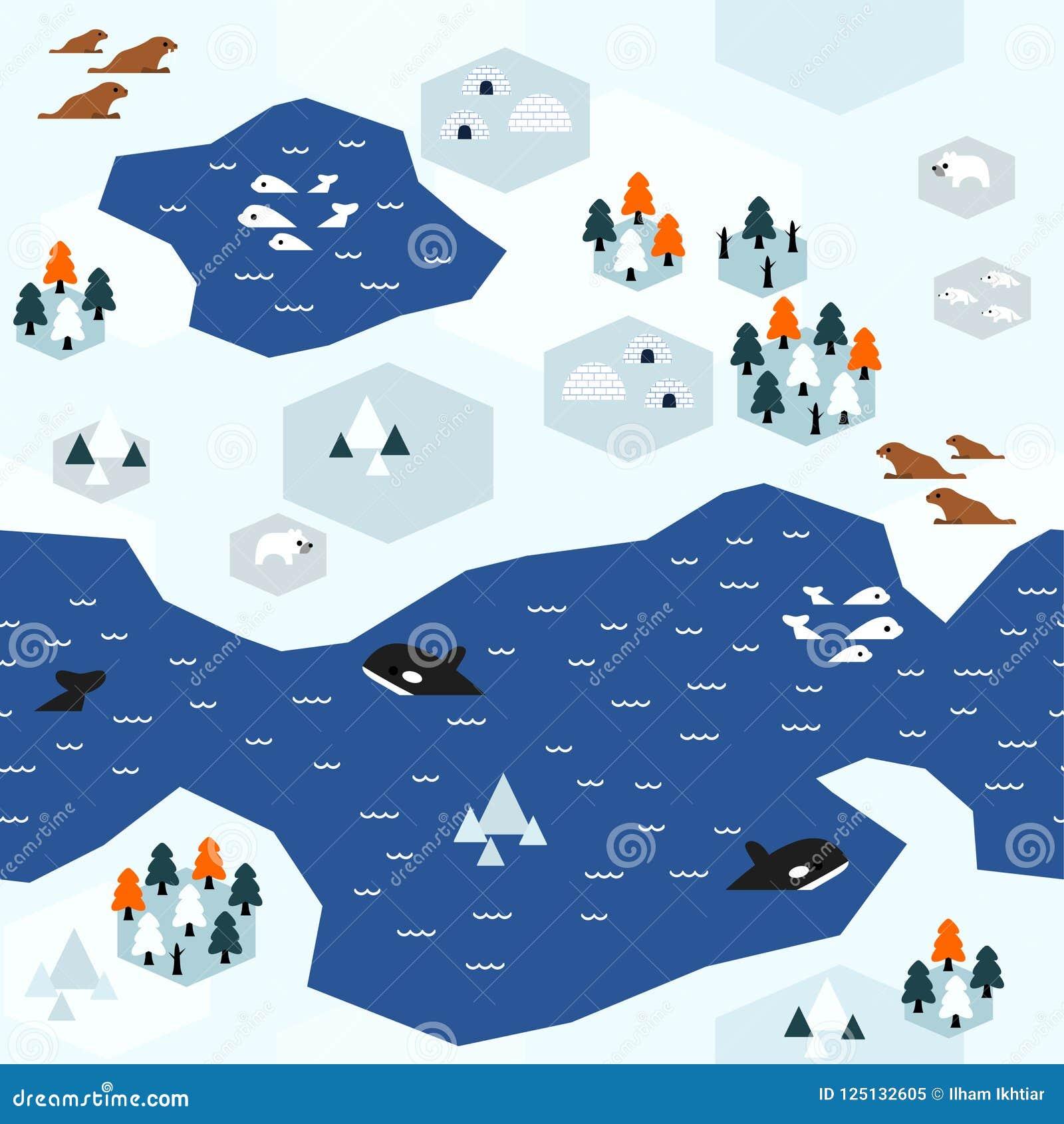 Płaski Arktyczny mapa wzoru warianta b