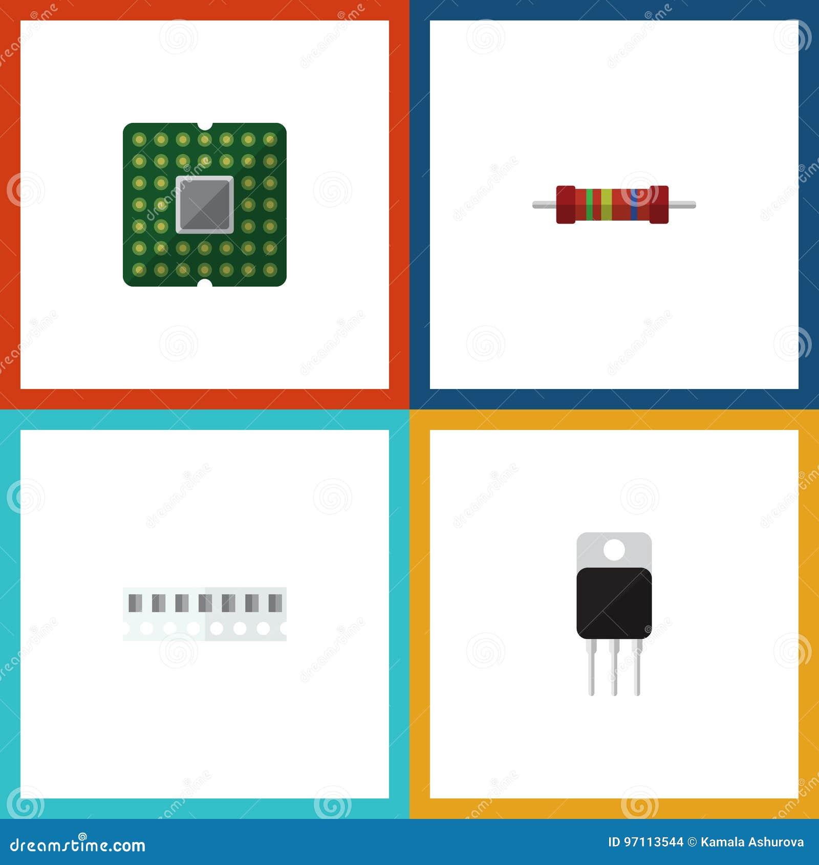 Płaski ikona przyrząd Ustawiający jednostka, pamięć, opór I Inni Wektorowi przedmioty, Także Zawiera elektronika, Przypadkowe, se