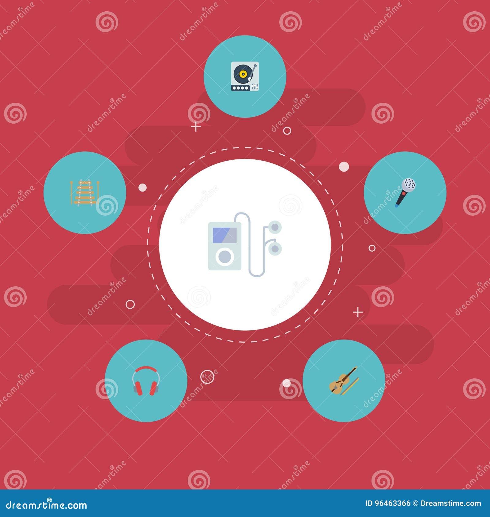 Płaski ikona skrzypki, odtwarzacz mp3, słuchawka I Inni Wektorowi elementy, Set Pracowniani Płascy ikona symbole Także Zawiera