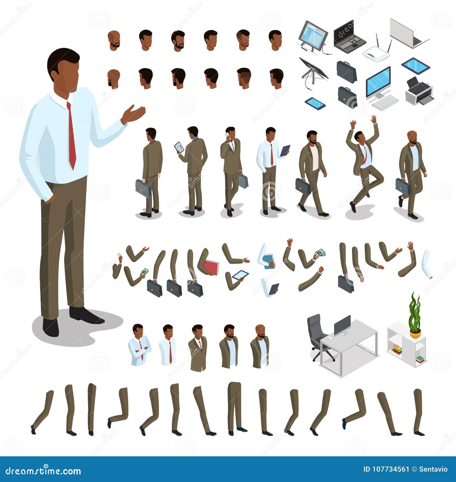 Płaski isometric część ciała mężczyzna set Biznes