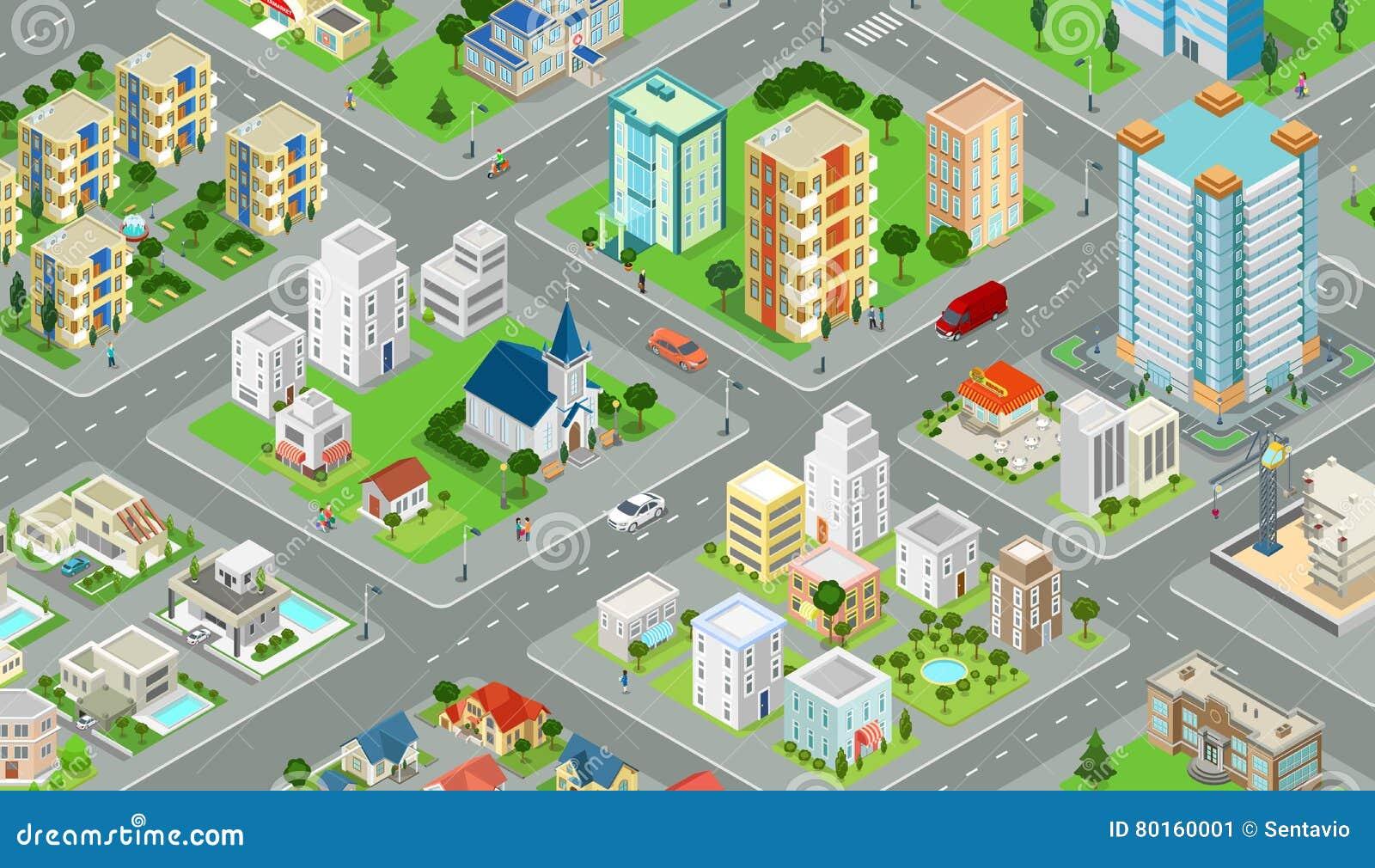 Płaski isometric miasto drogi modela wektor budynek 3 d