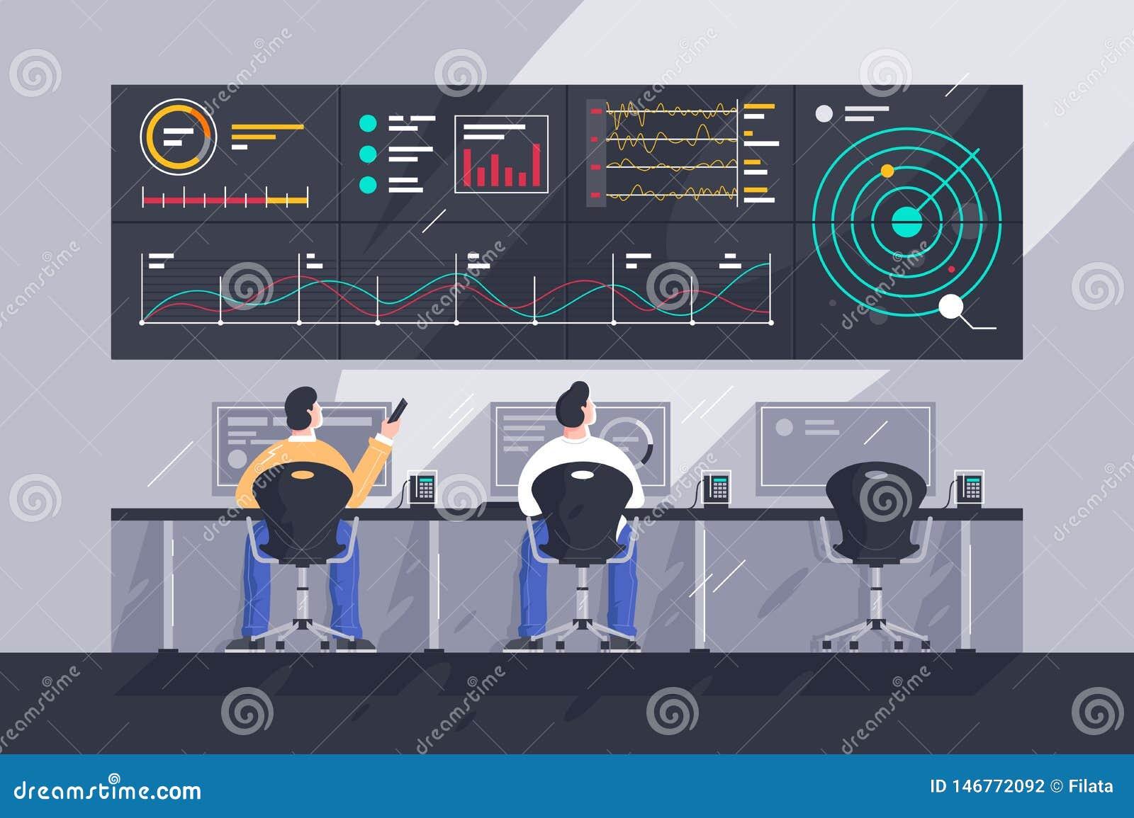 Płaski młodego człowieka pracownik z ekranami z mapami przy centrum kontroli