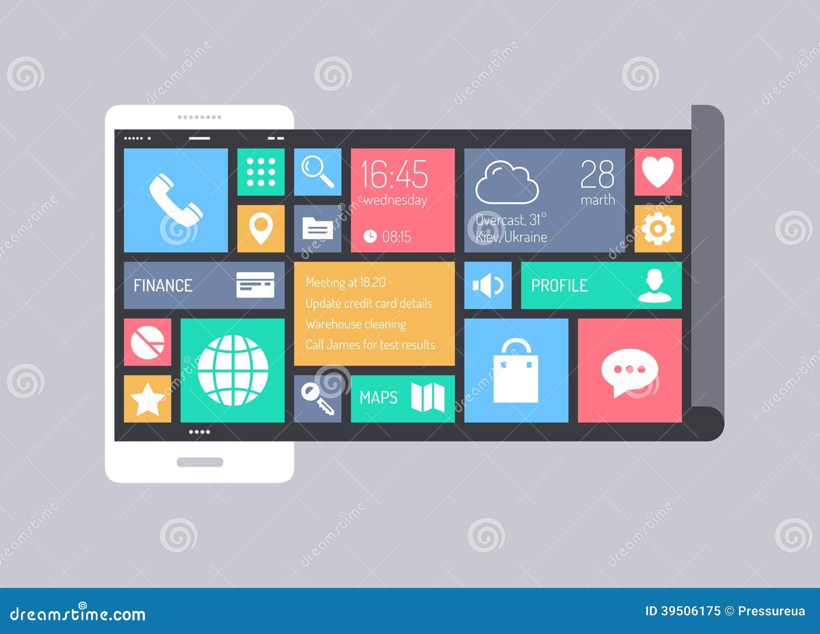 Płaski nowożytny mobilny interfejsu użytkownika pojęcie