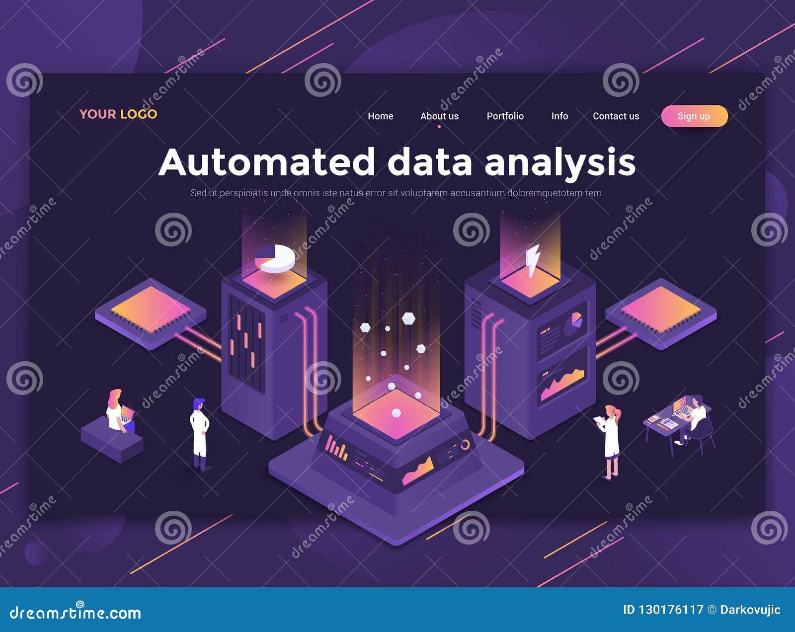Płaski Nowożytny projekt strona internetowa szablon - Automatyzująca dane analiza